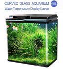 New 65L Aquarium Fish Tank Curved Glass Complete Set Filter Pump LED Light Black