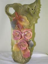 Large Antique Royal Dux Art Nouveau Roses Vase 16'' High