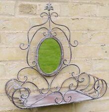 Gothic Ornate Vintage Grey Wash Metal Garden Oval Wall Mirror Planter Shelf NEW