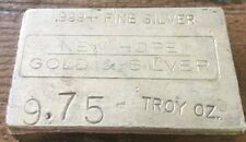 Rare 9.75 Troy Ounce .999+ Fine Silver Old Hand Poured Bar Ingot Low Serial# G9