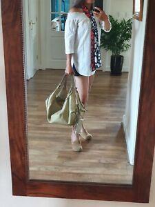 Radley Lge Slouch Hobo Travel Hammock Beige Patent Leather+ Purse bag handbag ne