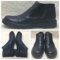 BOSTONIAN Black Leather Ankle Boots Made In Italy Men's Size 11.5 M