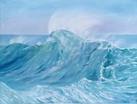 Ocean Painting Wave Seascape Original Canvas Art 18 by 24 Inches