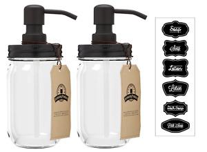 Mason Jar Soap Dispenser - Black - With 16 Ounce Clear Mason Jar - Two Pack