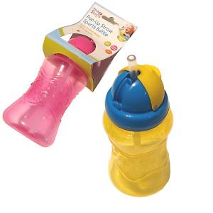 2 Pack Child Popup Straw Sports Bottles School Nursery Dishwasher Toddler Baby