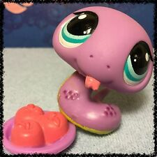 Littlest Pet Shop LPS Purple & Yellow SNAKE #1828 Blue Aqua Eyes RARE Cobra