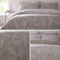 Beige Duvet Covers Reversible Floral Scroll Cotton Blend Quilt Cover Bedding Set