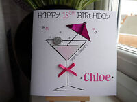 Handmade Personalised Female Birthday Cocktail Birthday Card 18 21 30 40 ANY AGE