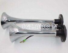 24V 150db Super Loud Dual Trumpet Air Horn Horns For Truck Mega Train Chrome