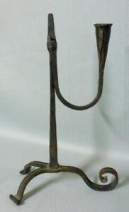 Arts & Crafts Artisan Wrought Iron Rushlight Candleholder Blacksmith Signed OCF