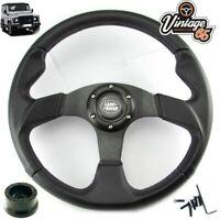 Land Rover Defender Black Motorsport Steering Wheel 17mm 36 Spline Boss Kit Horn
