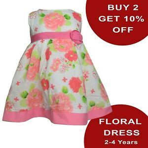 GIRLS TODDLERS DRESS EXQUISITE FLORAL SLEEVELESS DRESS FROCK 100% COTTON [DT-51]