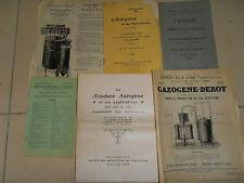 catalogue - dépliant lot de 6 documents sur l'acétylene ( ref 6 )
