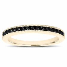 Fancy Enhanced Black Diamonds Wedding Band 14K Yellow Gold Half Eternity Ring