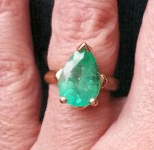 Large 4.12 ct Pear Muzo Colombian Emerald 14K Yellow Gold Ring- Size 6.25-6.5