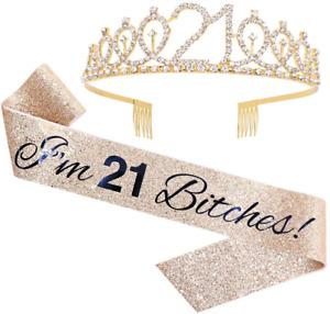"""""""I'm 21 Bitches!"""" Sash & Rhinestone Tiara Set - 21st Birthday Gifts Birthday for"""