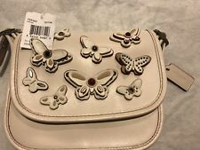 NWT Coach Patricia Saddle Bag 18 All Over Butterfly Applique Chalk White F59360