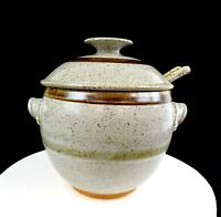 "STUDIO ART POTTERY SCHMUCKLEY SIGNED STONEWARE SPECKLED 9 1/2"" TUREEN WITH LADLE"