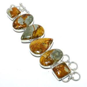 "Landscape Jasper 925 Sterling Silver Ethnic Bracelet 7.5-7.99"" S1999"