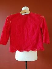 H&M RED FLORAL LACE TOP BLOUSE SIZE US 2