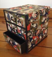 Vtg Japanese Samurai Kabuki Paper Print Three Drawer Jewelry Trinket Box Japan