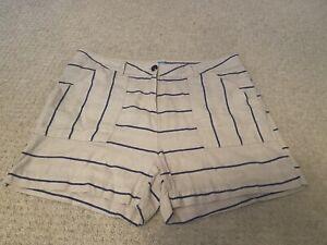 Next Cotton/Linen Striped Shorts. Size 14 Petite