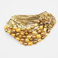 Vintage Estate Gold Tone Multi Strand Chain And  Pearl Stretch Bracelet Size 7