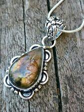 Handmade Silver Labradorite Semi Precious Pendant Necklace + Velvet Gift Pouch