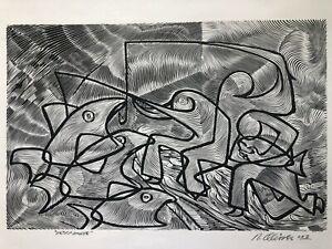 """Reynaldo Olivares/Taller de Gráfica Popular Original Suelagraph/""""Pescadores""""2002"""