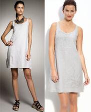 $278 Eileen Fisher Handkerchief Linen Sequin Silver Grey Sleeveless Tank Dress