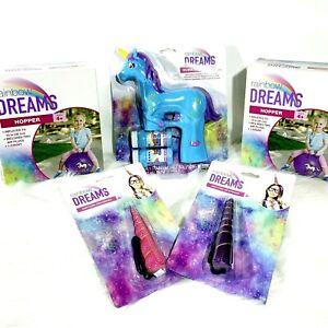 Unicorn 5-Piece Bundle - 2 Hoppers 1 Bubble Blaster Pink & Purple Headbands NWT