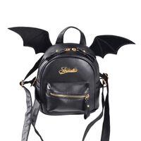 Gothic Mini Black Bat Wings PU Leather Backpack Women Shoulder Bag Rucksack Punk