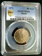 PCGS MS66 Gold Shield-Macau 1972 National Arms 50 Avos Super GEMBU Key Date