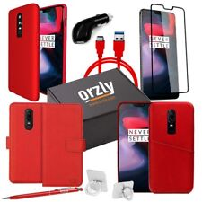 OnePlus 6 Case & Accessory Essential Pack USB Headset Screen Protector Red Orzly