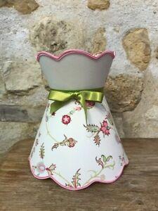 Lampshade Scalloped To Collarette, Fabric Print Flower Cactus -
