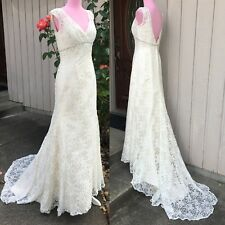 cream all over beaded lace trumpet wedding dress T9612 chapel train