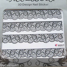 3D Nail Art Lace Stickers Decals Black Lace Design Nail Art - NEW (H007)