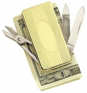 Colibri Pocket Knife,File, Scissor & Money Clip  gold plated new Boxed $49