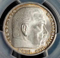 1939-B, Germany (3rd Reich). Large Silver 5 Mark Coin. High Grade! PCGS MS-64!