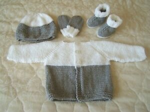 Hand knitted 0 – 3 months baby winter matinee set jacket, hat, mitts & booties