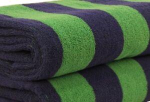 CABANA BEACH POOL TOWEL - STRIPED 100% EGYPTIAN COTTON - NAVY BLUE & GREEN