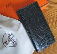 Mint Hermes Mc2 Fleming Alligator Leather Long Bill Wallet Bi-fold Black Matte