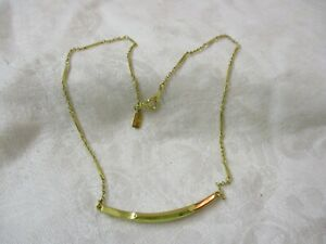 Vintage Hallmark Accents gold tone Necklace curved Bar