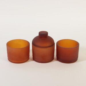 Mattierte Dose und 2 Schalen Murano Glas ca. 1975 Cenedese honigfarben schön