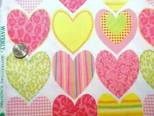 Hearts Pink Valentines Waverly Inspirations Cotton Quilt fabric by the yard BTY