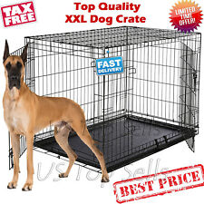 "Extra Large Dog Kennel Crate 48"" Folding Pet Cage Metal 2 Doors Tray Pan XL XXL"