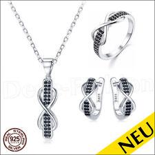 NEU 🌸 INFINITY Echt 925 Silber SET Ring BLACK Spinell KETTE 🌸 Unendlichkeit