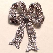 Vintage 14K Solid White Gold Genuine Diamond  Ribbon Design  Pin/ Brooch