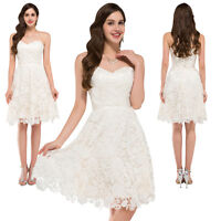 GK Strapless Corset  Lace Satin Ball Cocktail Evening Prom Party Skater Dress