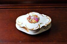 Vintage Limoges Trinket Box In Porcelain Featuring Fragonard Painting